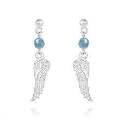 Boucles d'Oreilles Aile d'Ange en Argent et Cristal Turquoise