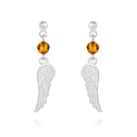 Wholesale Angel Wing Crystal and Silver Earrings - Fire Opal