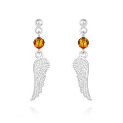Boucles d'Oreilles en Cristal et Argent Boucles d'Oreilles Aile d'Ange en Argent et Cristal Vert Fire Opal