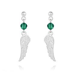 Boucles d'Oreilles Aile d'Ange en Argent et Cristal Vert Émeraude