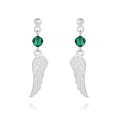 Boucles d'Oreilles en Cristal et Argent Boucles d'Oreilles Aile d'Ange en Argent et Cristal Vert Émeraude