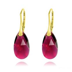 Boucles d'Oreilles Goutte 22MM v3 en Argent Plaqué Or et Cristal Ruby