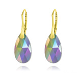 Wholesale Pear 22mm v3 Yellow Gold Plated Silver Earrings with Swarovski Crystal - Paradise Shine