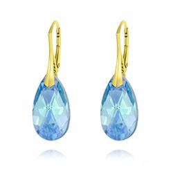 Boucles d'Oreilles Goutte 22MM v3 en Argent Plaqué Or et Cristal Bleu Aquamarine AB