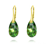 Wholesale Pear 22mm v3 Yellow Gold Plated Silver Earrings with Swarovski Crystal - Peridot AB