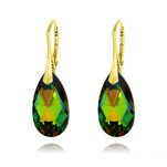 Wholesale Pear 22mm v3 Yellow Gold Plated Silver Earrings with Swarovski Crystal - Vitrail Medium