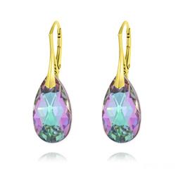 Boucles d'Oreilles Goutte 22MM v3 en Argent Plaqué Or et Cristal Vitrail Light