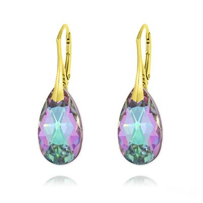 Boucles d'Oreilles en Cristal et Argent Boucles d'Oreilles Goutte 22MM v3 en Argent Plaqué Or et Cristal Vitrail Light