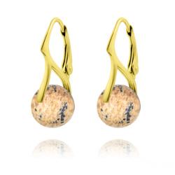 Boucles d'Oreilles en Pierres Naturelles 10mm en Argent Plaqué Or - Jaspe Paysage