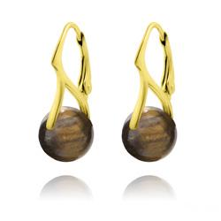 Boucles d'Oreilles en Pierres Naturelles 10mm en Argent Plaqué Or - Oeil de Tigre