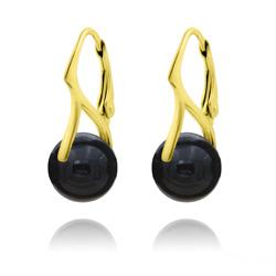 Boucles d'Oreilles en Pierres Naturelles 10mm en Argent Plaqué Or - Onyx