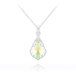 Wholesale Tiny Baroque 16mm Silver Necklace with Swarovski Crystal - White AB