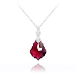 Wholesale Tiny Baroque 16mm Silver Necklace with Swarovski Crystal - Ruby