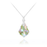 Wholesale Tiny Baroque 16mm Silver Necklace with Swarovski Crystal - Paradise Shine