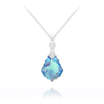 Wholesale Tiny Baroque 16mm Silver Necklace with Swarovski Crystal - Aquamarine AB