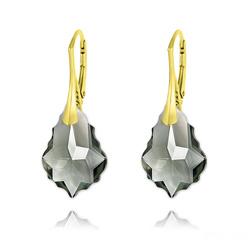 Boucles d'Oreilles Baroque 22MM v3 en Argent Plaqué Or et Cristal Black Diamond