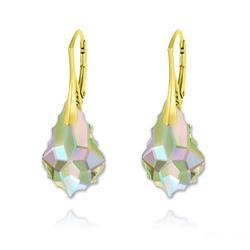 Boucles d'Oreilles Baroque 22MM v3 en Argent Plaqué Or et Cristal Paradise Shine