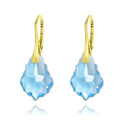 Boucles d'Oreilles Baroque 22MM v3 en Argent Plaqué Or et Cristal Bleu Aigue-marine