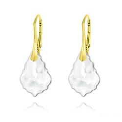Boucles d'Oreilles Baroque 22MM v3 en Argent Plaqué Or et Cristal Blanc