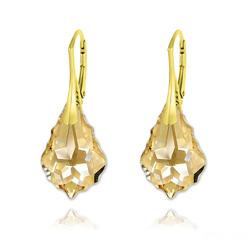 Boucles d'Oreilles Baroque 22MM v3 en Argent Plaqué Or et Cristal Champagne