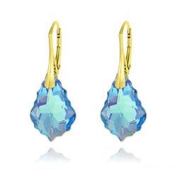 Boucles d'Oreilles Baroque 22MM v3 en Argent Plaqué Or et Cristal Bleu Aquamarine AB