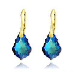 Boucles d'Oreilles Baroque 22MM v3 en Argent Plaqué Or et Cristal Bleu Bermude