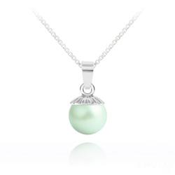 Collier Perle de Cristal Nacré 10MM et Argent - Pastel Green