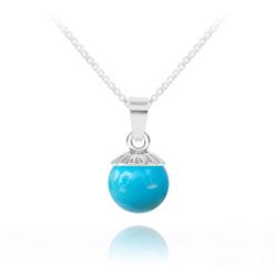 Collier Perle de Cristal Nacré 10MM et Argent - Turquoise
