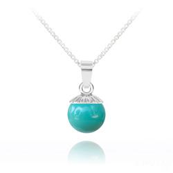 Collier Perle de Cristal Nacré 10MM et Argent - Jade