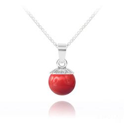 Collier Perle de Cristal Nacré 10MM et Argent - Red Coral