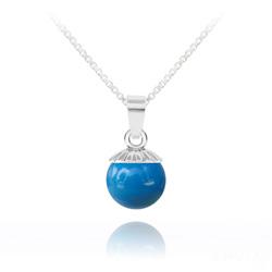 Collier Perle de Cristal Nacré 10MM et Argent - Lapis