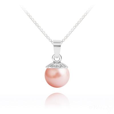 Collier en Cristal et Argent Collier Perle de Cristal Nacré 10MM et Argent - Rose Peach