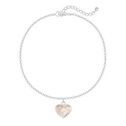 Bracelet Coeur 10mm en Argent et Cristal Rose Patina