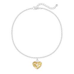 Bracelet Coeur 10mm en Argent et Cristal Gold Patina
