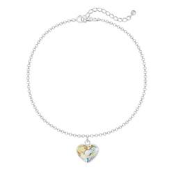 Bracelet Coeur 10mm en Argent et Cristal White Patina