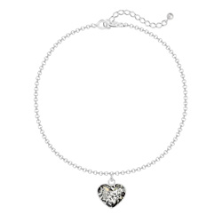 Bracelet Coeur 10mm en Argent et Cristal Black Patina