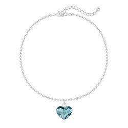 Bracelet Coeur 10mm en Argent et Cristal Denim Blue