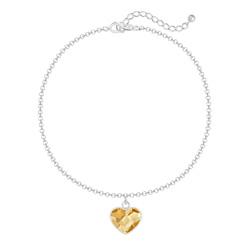 Bracelet Coeur 10mm en Argent et Cristal Champagne