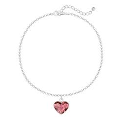 Bracelet Coeur 10mm en Argent et Cristal Antique Pink