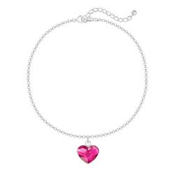 Bracelet Coeur 10mm en Argent et Cristal Fuchsia