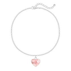 Bracelet Coeur 10mm en Argent et Cristal Rosaline
