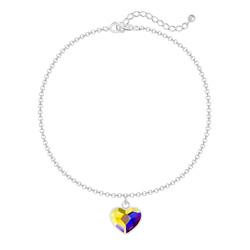 Bracelet Coeur 10mm en Argent et Cristal Aurore Boréale