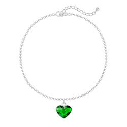 Bracelet Coeur 10mm en Argent et Cristal Dark Moss Green