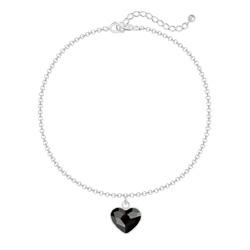 Bracelet Coeur 10mm en Argent et Cristal Jet (Noir)