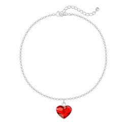 Bracelet Coeur 10mm en Argent et Cristal Rouge Light Siam