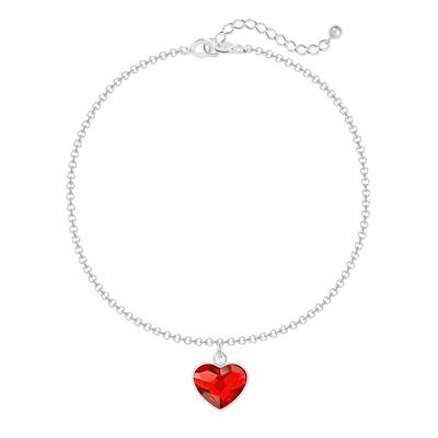 Bracelet en Cristal et Argent Bracelet Coeur 10mm en Argent et Cristal Rouge Light Siam