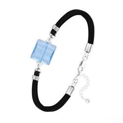 Bracelet Stairway 14mm en Argent et Cristal Bleu Aigue-marine