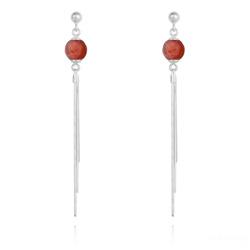 Boucles d'Oreilles Pompon en Pierres Naturelles Facettées 8mm et Argent - Agate Rouge
