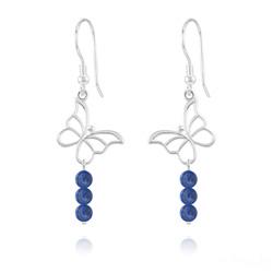 Boucles d'Oreilles Papillon en Argent et Pierres Naturelles 4mm - Lapis Lazuli