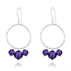 Boucles d'Oreilles Cercle Torsadé en Argent et Cristal 8mm/6mm Purple Velvet
